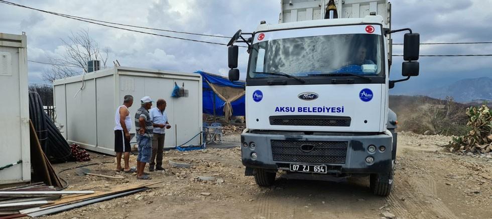 Aksu Belediyesi Manavgat afet bölgesinde...