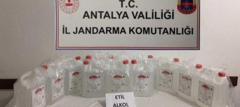 Kaş'ta kaçak üretilen 60 litre etil alkol ele geçirildi
