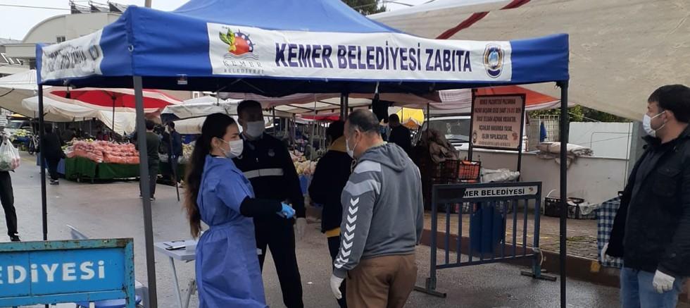 Kemer'de koronavirüs önlemleri devam ediyor